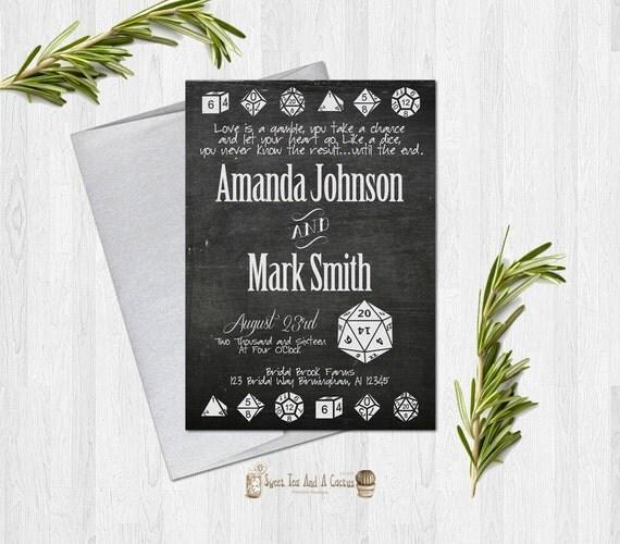 Nerdy Wedding Invites: Geek Dice Gaming Wedding Invitation Nerd Announcement