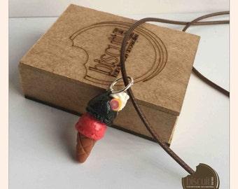 Doble flavor Mini Ice cream cone chain (polymer clay, cold porcelain)