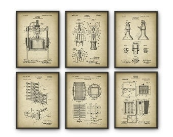 Good Wine Patent Print Set Of 6   Wine Inventions   Oenology   Winemaker   Wine  Wall Part 23