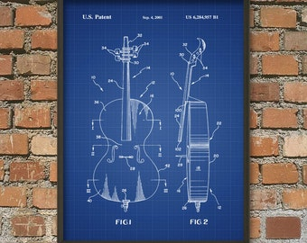 Cello Patent Print - Violoncello Musician Wall Art Poster - Music Room Decor - Musician Gift Idea - Orchestra - Cello Art Poster