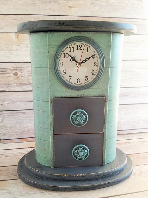 Wood Mantle Clock Farmhouse Mantle Clock Turquoise Clock
