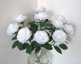 White Silk Flower Roses with 15.7 Inches Stems,Fake Artificial Silk Rose Bush Bouquet,Wedding Aisle decor,Silk Flower Table Centerpieces