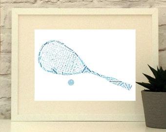 Personalised Squash Racket and Ball Print