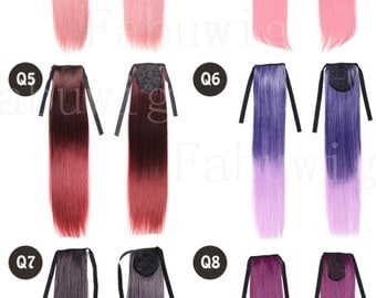 "21"" Long Straight Hair Extension Ombre Wig Synthetic Gradient Color Cosplay Clip In Hairpiece Ponytail"