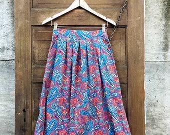 Sweet Vintage High Waisted Paisley Print Midi Skirt
