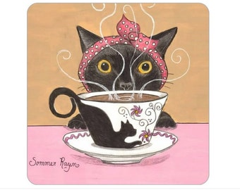 Magnet, 2 inches x 2 inches, rounded corners, fridge, Coffee Kitty, Time to wake up, adorable cat, Perfect Small Gift
