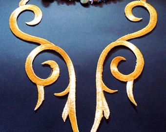 1 Pair Embroidered Applique Gold Metallic Iron On Patch metallic gold applique flower applique cosplay decoration supplies 24cm* 5 cm