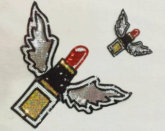Lips with wings design sequined applique iron on or sew on patch applique