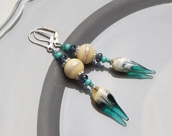 Turquoise and ivory lampwork earrings, boho earrings, ethnic earrings, tribal earrings, ivory earrings, long earrings, teal earrings