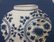 Chinese pottery fabric on Blue background, Blue Fabric, Cotton printed, JIM Thompson, 54 width, Blue fabric