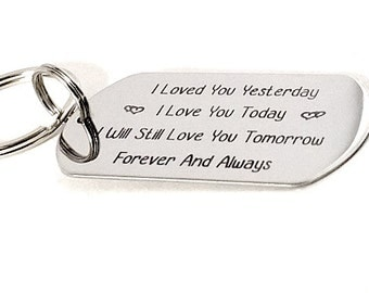 Hand stamped Keychain - Custom Tag - Personalized Keychain - Valentine's Day Gift - Day of Love - Gift for Love , Boyfriend , Girlfriend