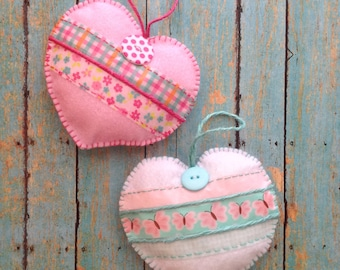 Hearts / Hanging Felt Pastel Colors Hearts / set of 2 / Handmade and Design Felt - Cute Button - Washi Tape