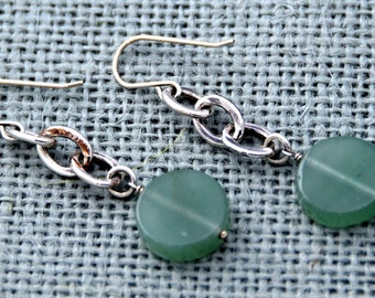 Green Jade + Sterling Silver Chain Earrings