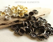 Rhinestone Rondelle Spacer Bead Lots, Brass, Silver, Mixed, Hand Ox, 10, 8, 7, 6mm, Mixed, Jewelry Elements, OX Hardware, Artwear Elements
