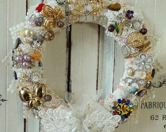 Wedding Wreath, Wedding Decor, Jewelry Wreath, Door Wreath, Shabby Chic Wreath, Jewelry Vintage French Home Boudoir Decor Decoration, OOAK