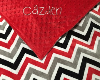 Personalized Premium Minky Baby Blanket with Red, Grey, Black Chevron Minky and Red Dimple Dot Minky. Double Minky Blanket