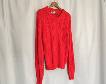 Red Cable Knit Sweater Vintage size Large