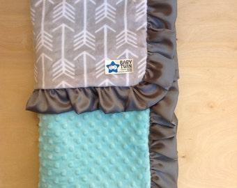Baby Blanket- Grey Archer/ Mint