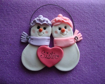 Personalized Ornament Snowman Sisters Snow Couple Air Dry Clay Handmade Salt dough ornaments Cookiecuttercuties