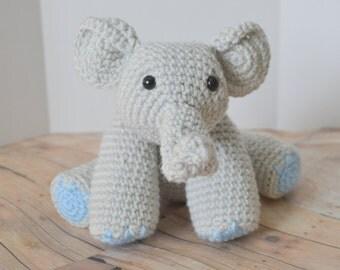 Baby Elephant Plush, Soft Toy, Light Gray Crochet Elephant Amigurumi, Stuffed Animal, Made to Order