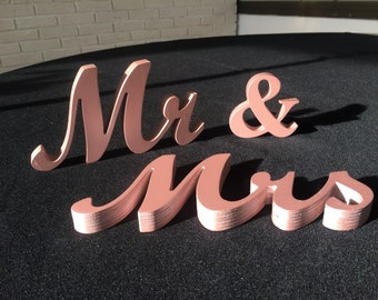Mr and Mrs Wedding signs Mr&Mrs wedding top table or sweetheart table  decoration wedding signs rose gold or gold or silver wedding signs