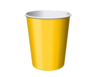 YELLOW PAPER CUPS (Set of 8) - Yellow Paper Cups (266ml / 9oz)