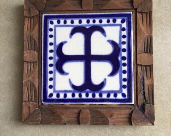 Vintage Mexican Tile in Carved Wood Frame