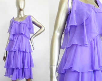 violet ruffled dress \ chiffon party dress \ flirty frock