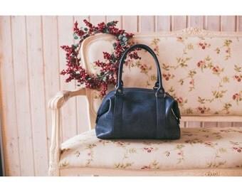 ON SALE Navy Leather Shoulders bag - Woman leather handbag - Navy tender bags