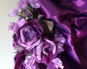 TWO Crystal encrusted purple shot taffeta bridesmaids dresses