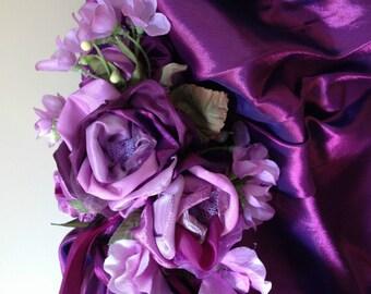 TWO Crystal encrusted purple shot taffeta bridesmaids dresses