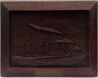 1951 RAILROAD Folk Carving North Redwood Minnesota Railroad Station