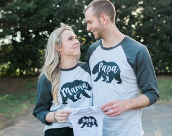 Papa, Mama, and Baby Bear shirts