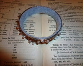 Upcycled silver bangles with copper leaf and freshwater pearl detail