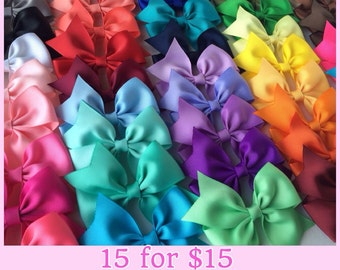 "3.5"" Solid Color Half Pinwheel Bows, Set of 15 Hair Bows, Pick your colors, Dollar Bows"