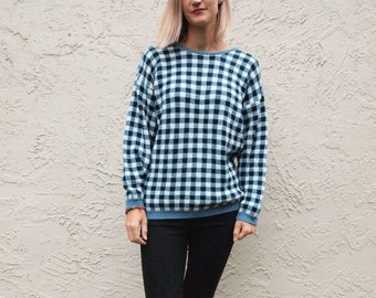 100% Cotton Sweater in Blue, Black and White plaid Check
