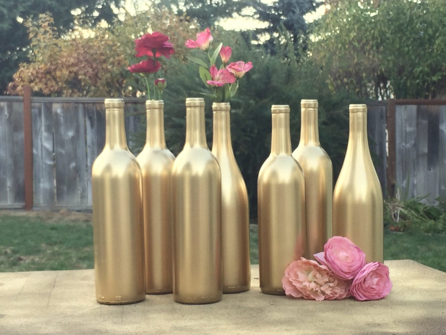 metallic gold wine bottles set of 7 painted gold wine bottles