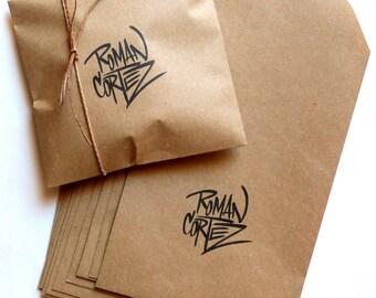 25 custom logo envelopes · logo kraft bags · logo kraft envelopes