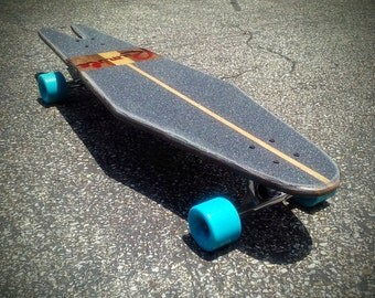 Medusa Vintage Inspired Longboard - Mahogany Skunk Stripe - Complete Skateboard with Trucks and Wheels