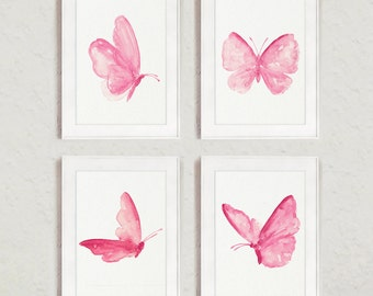 Butterflies Painting set 4 Art Prints Shabby Chic Decor Abstract Butterfly Watercolor Pink Girls Nursery Room Decor, Princess Wall Poster