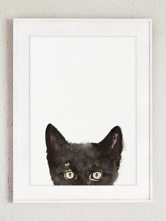 Peeking Cat Art Print Animals Painting Whimsical Cat Poster