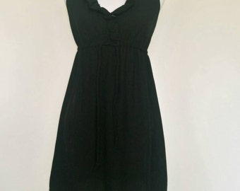 Vintage 60s black ruffle babydoll mini dress