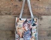 Vintage Cat Tapestry 1990s Tote Bag. Crazy cat lady, grandma chic.