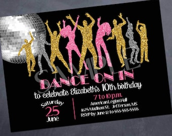 Printable Dance Party Birthday Invitation - Dance on in - 5x7