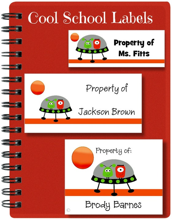 Alien Labels, School Labels, Back to School, Space Ship, Alien, Personalized Stickers, Personalized Labels, Tags
