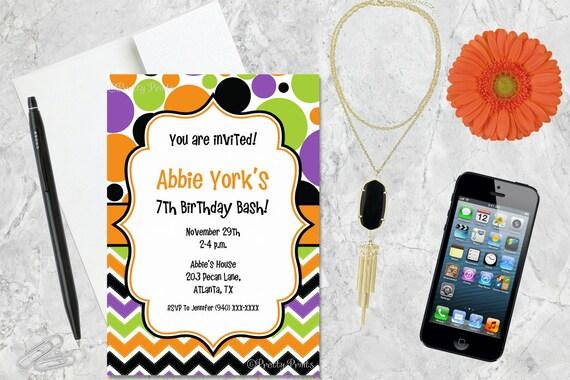 Birthday Invitations, Chevron Invitations, Dots, Orange, Green, Black, Purple, Party Invitations, Shower Invitations, Custom Invitations