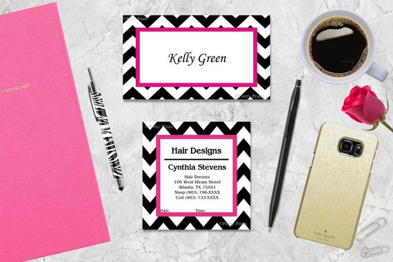 Chevron Gift Tags, Chevron,  Black, Hot Pink, Tags, Business Cards, Calling Cards, Appointment Cards, Personalized Gift Tags