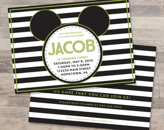 Mickey Mouse Invitation, Mickey Mouse Birthday Invitation, Green and Black, Stripes, Customizable, Printable, Digital File