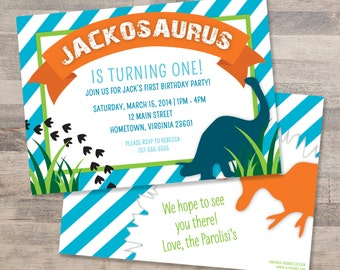 Blue and Orange Striped Dinosaur Birthday Party Invitation | Customizable | DIGITAL FILE