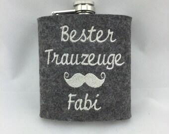 Hip flask made of wool felt best best man